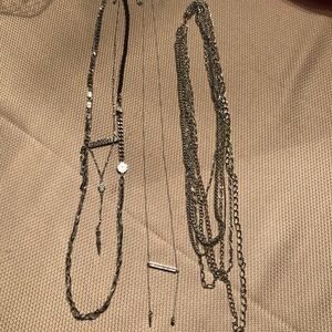 Set of long silver necklaces